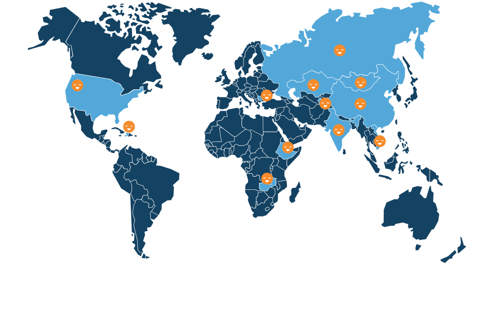 World map showing where SPOON has worked